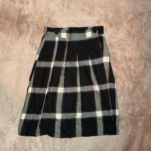 Plaid Pleated Button Skirt